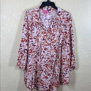 Woman Within Top Blouse 1X Cream Brown Rayon